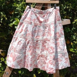 Roxi Full 4 Tiered Skirt Beachy Coral Floral
